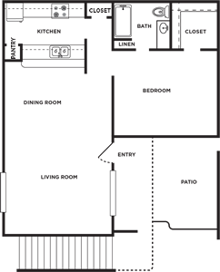 A - One Bedroom / One Bath - 725 Sq. Ft.*