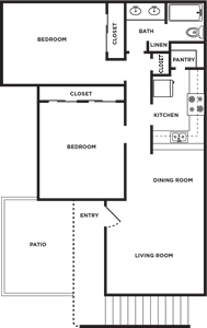 B - Two Bedroom / One Bath - 927 Sq. Ft.*