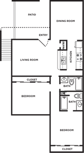 C - Two Bedroom / Two Bath - 1,083 Sq. Ft.*